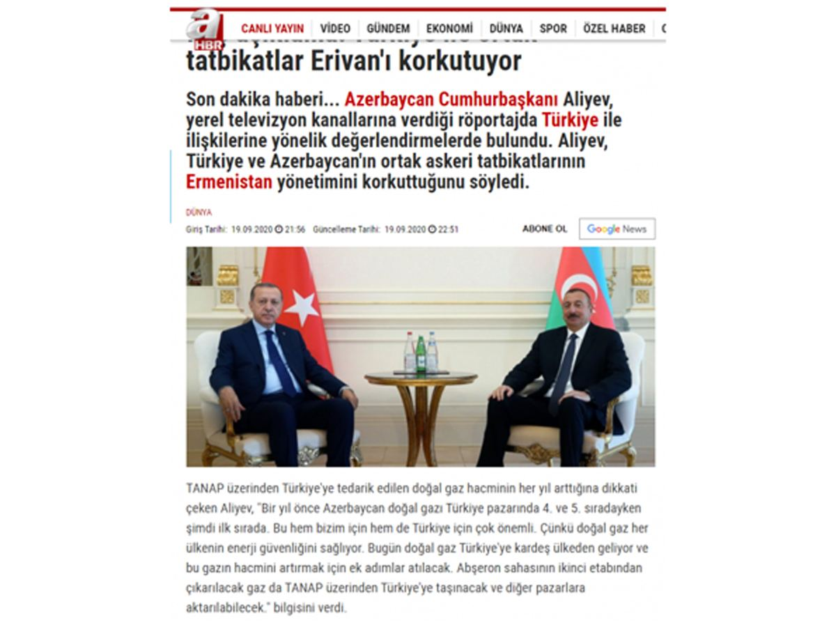 Azerbaijani president's interview to local TV channels in spotlight of foreign media