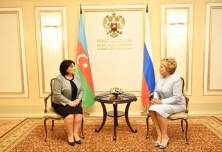 Speaker of Azerbaijani parliament meets chairperson of Federation Council of Russian Federal Assembly (PHOTO)