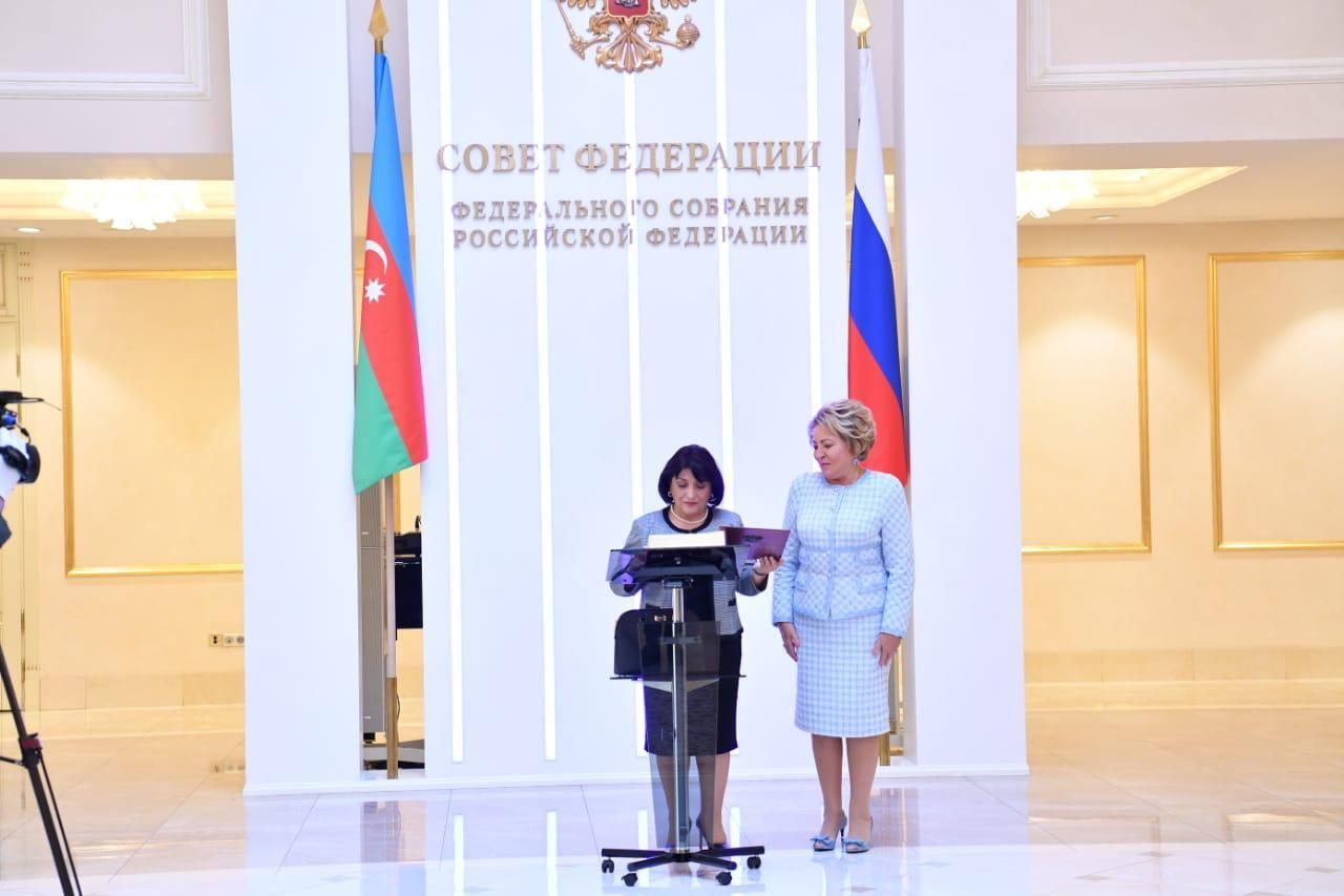 Sahibə Qafarova Rusiya Federal Məclisi Federasiya Şurasının sədri ilə görüşüb (FOTO) - Gallery Image
