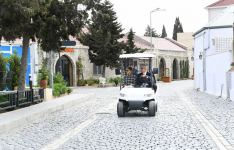 Azerbaijani president, first lady view landscaping work carried out in Balakhani settlement (PHOTO) - Gallery Thumbnail