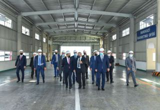 Azerbaijani minister of economy reviews activity of industrial enterprises in Ganja (PHOTO)