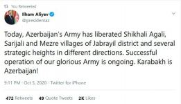 President Ilham Aliyev: Today, Azerbaijani Army liberated Shikhali Aghali, Sarijali, Mazra villages of Jabrayil district and several strategic heights in different directions - Gallery Thumbnail