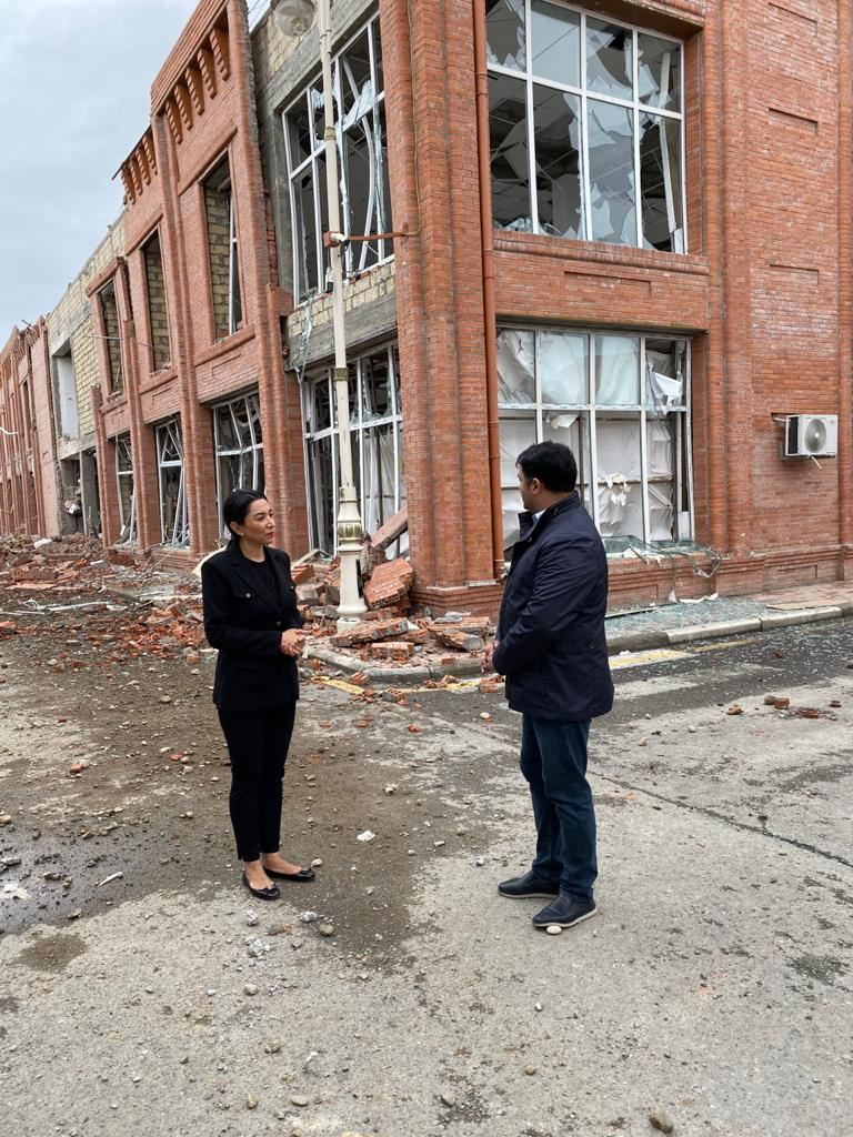 Azerbaijani Ombudsman visits shelled Ganja with fact-finding mission (PHOTO) - Gallery Image