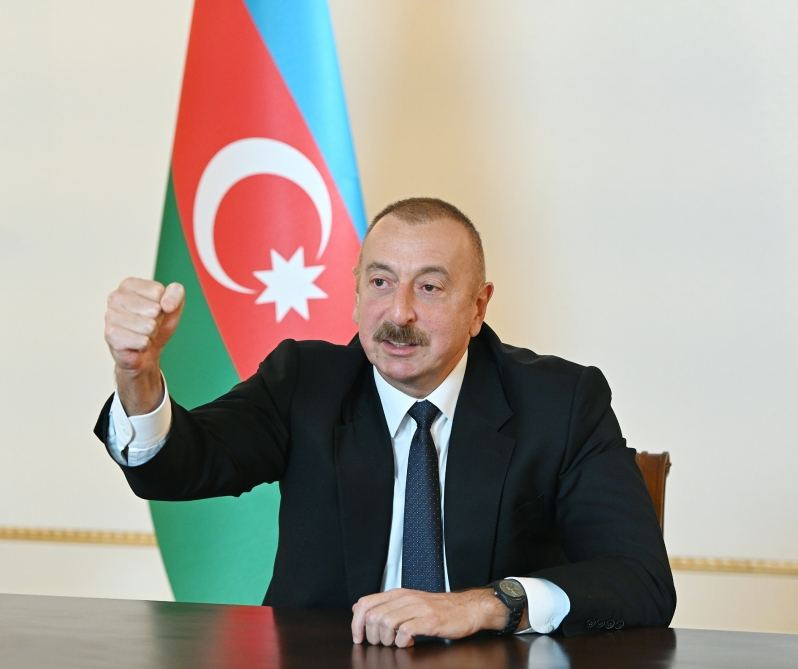 Azerbaijani president says many pieces of enemy's military equipment destroyed, seized