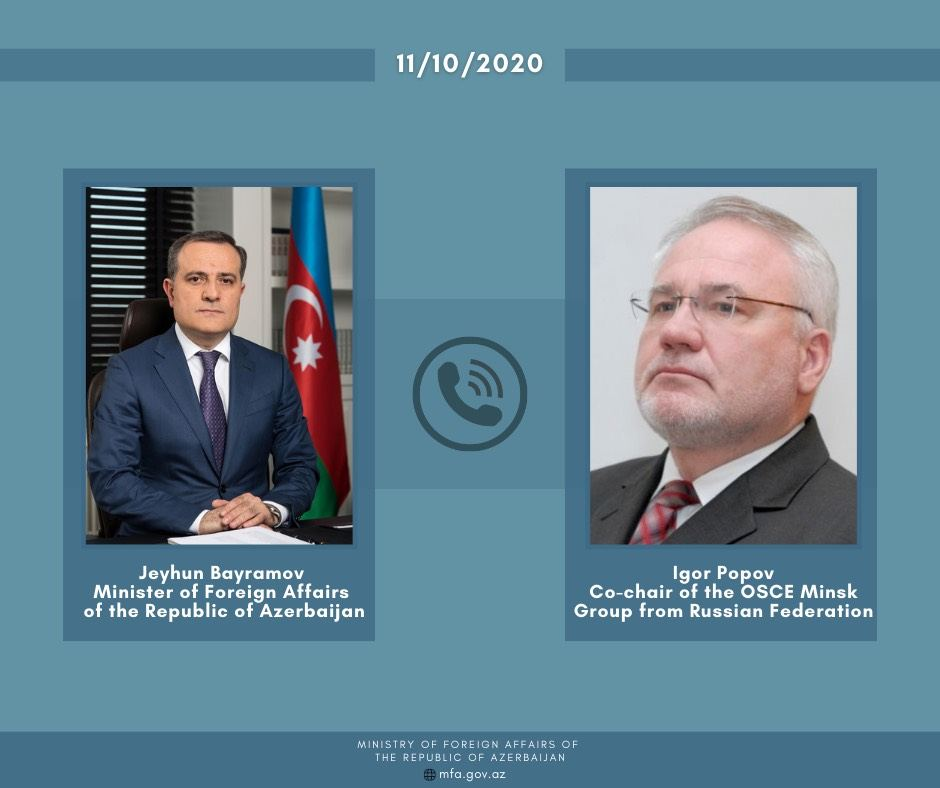 Azerbaijani FM holds phone conversation with OSCE MG co-chair from Russia