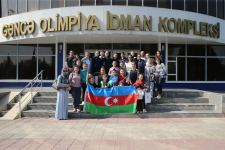 Members of Azerbaijani National Gymnastics team visit missile-hit Ganja (PHOTO) - Gallery Thumbnail