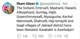 Thirteen more Azerbaijani settlements of Jabrayil district liberated from occupation - President Aliyev - Gallery Thumbnail
