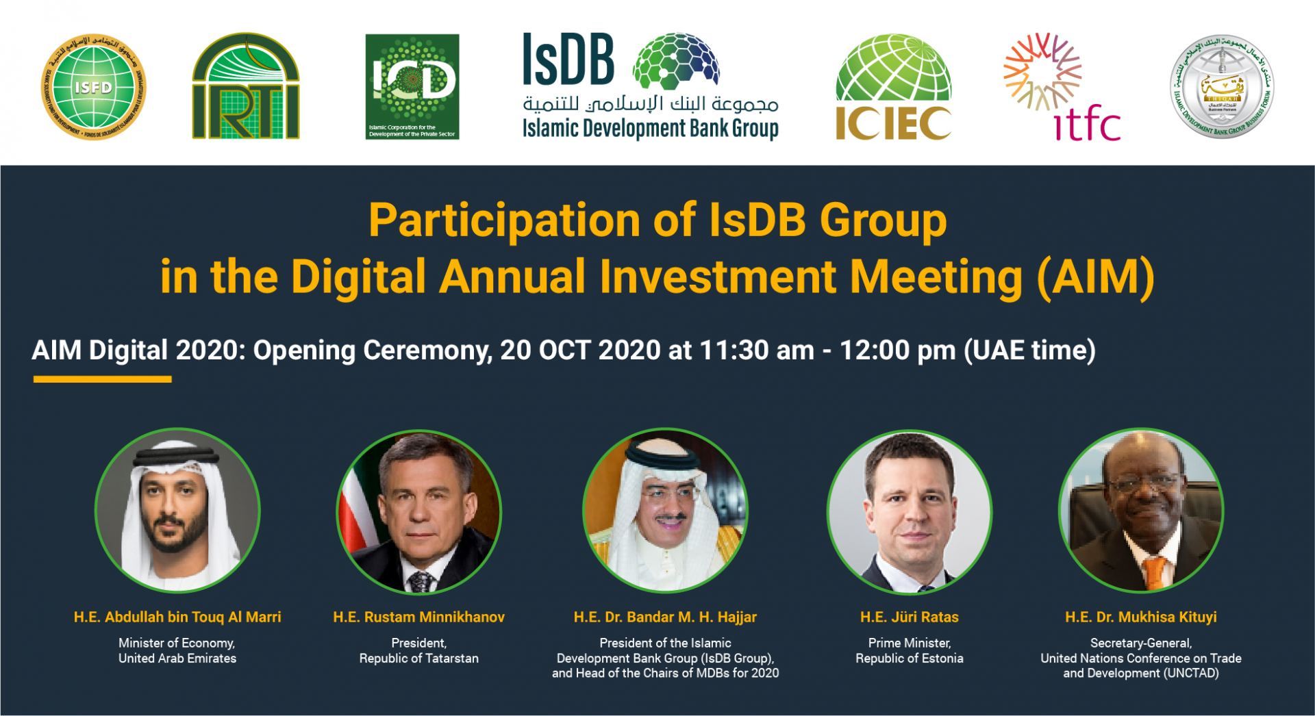 IsDB Group and UAE Ministry of Economy co-organise first digital edition of Annual Investment Meeting on 20-22 October 2020