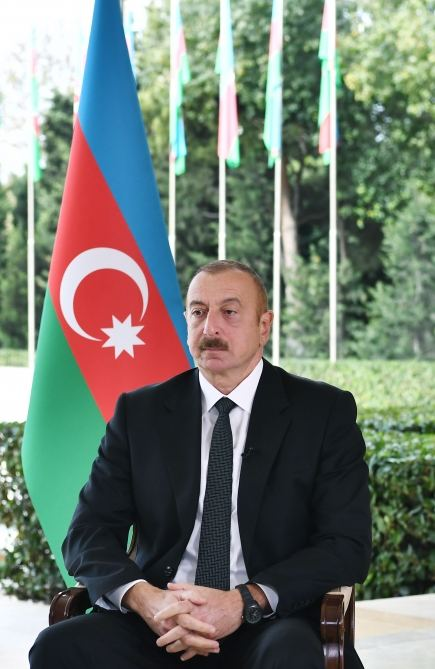 President Ilham Aliyev interviewed by Russian Interfax agency (PHOTO) - Gallery Image