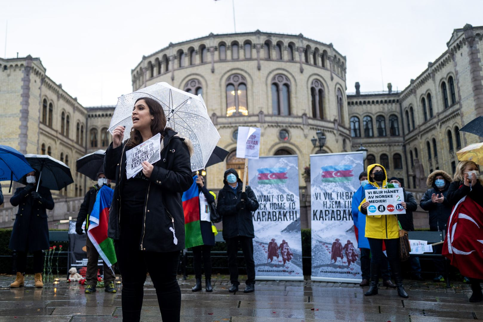 Azerbaijanis in Norway hold rally before parliament, condemning Armenian terror (PHOTO) - Gallery Image
