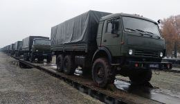 Logistic support assets of Russian peacekeepers in Karabakh arrive in Azerbaijan (PHOTO/VIDEO) - Gallery Thumbnail