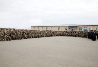 Azerbaijani marine infantry personnel return to place of permanent deployment (PHOTO)
