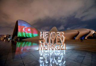 Heydar Aliyev Center, Flame Towers and Baku Olympic Stadium illuminated with Azerbaijani flag (PHOTO)