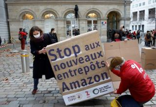 French activists protest against Amazon's expansion