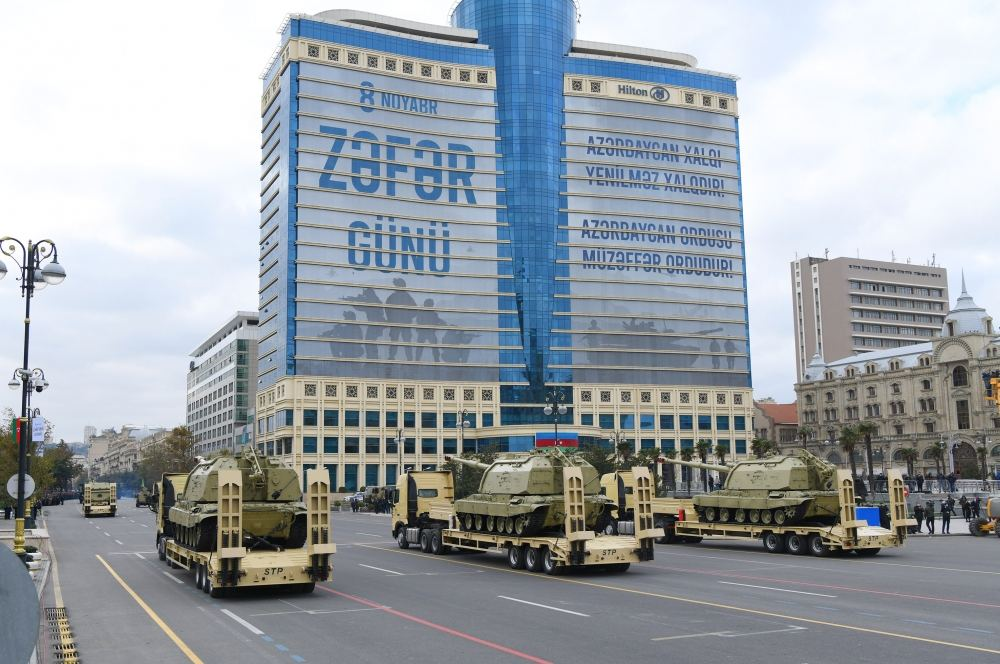 Azerbaijan holds military parade dedicated to victory in Patriotic War with participation of Azerbaijani, Turkish presidents (PHOTO) - Gallery Image