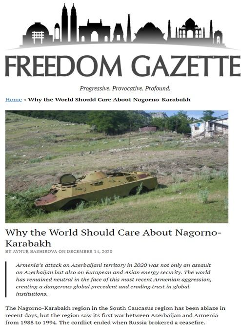Freedom Gazette: World remained neutral in face of latest Armenian aggression - Gallery Image