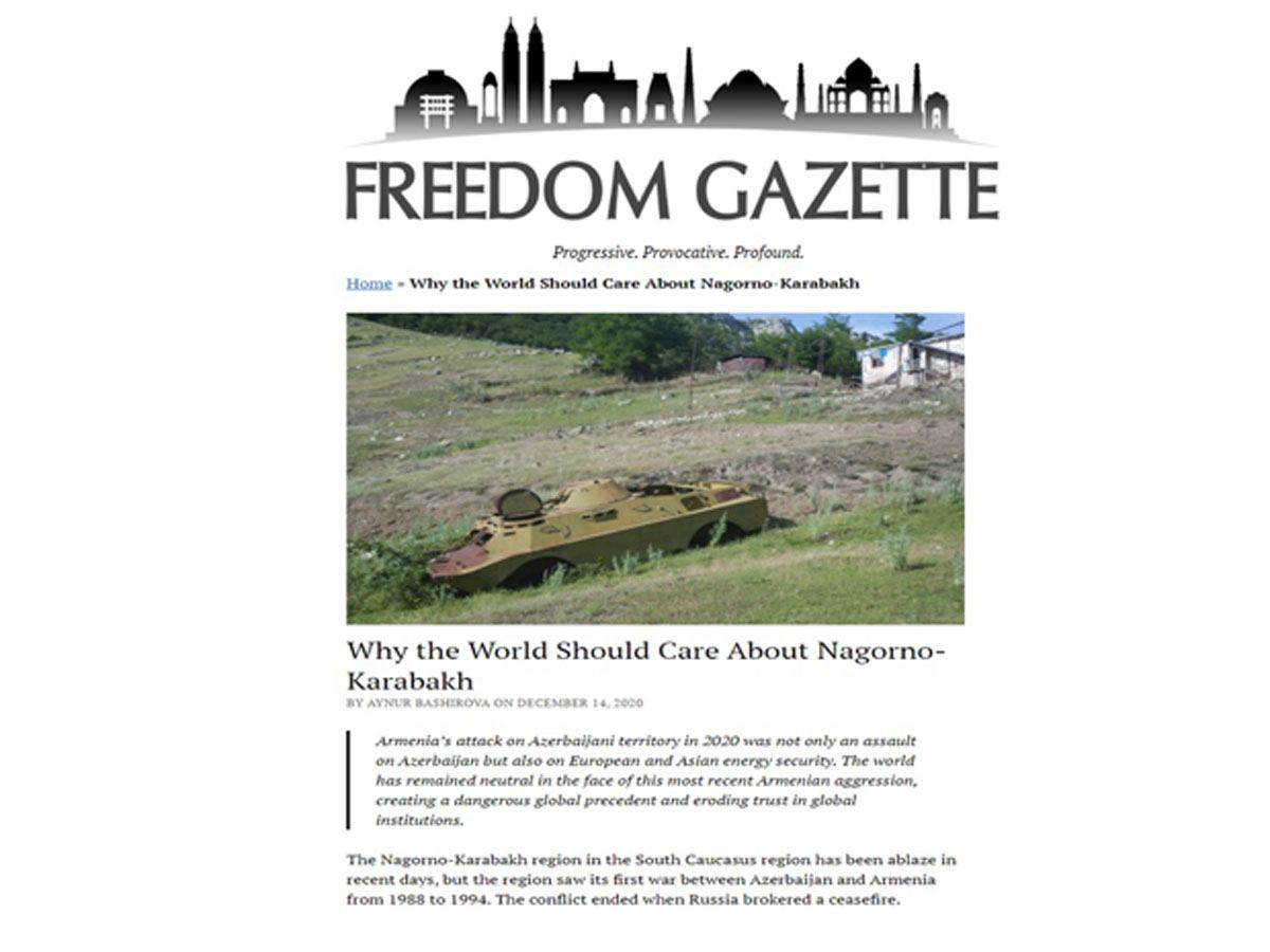 Freedom Gazette: World remained neutral in face of latest Armenian aggression