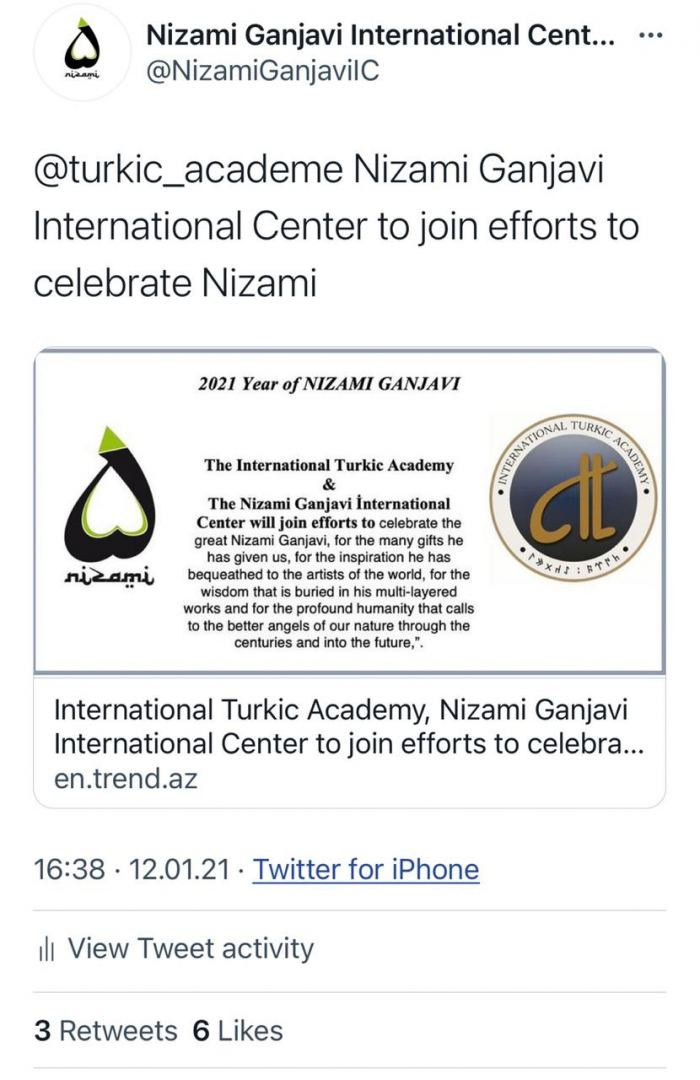 Nizami Ganjavi International Center started it's international activities on 2021 being declared Year of Nizami Ganjavi (FOTO) - Gallery Image