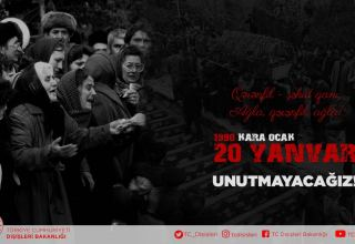 Turkish Foreign Ministry honors memory of Azerbaijani martyrs of January 20, 1990 tragedy in Baku