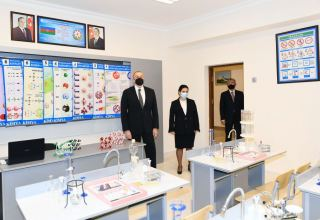 Azerbaijani president views conditions created at reconstructed schools in Sabunchu, Surakhani (PHOTO)