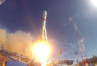 Soyuz-2.1b carrier rocket with Arktika-M satellite blasts off from Baikonur spaceport