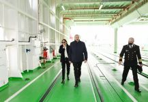 Azerbaijani president, first lady attend sail away of 'Academician Zarifa Aliyeva' ship, launch of first Ro-Pax type 'Azerbaijan' ferry boat (PHOTO) - Gallery Thumbnail