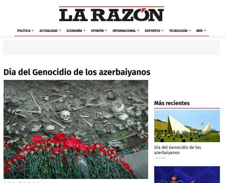 Peru mətbuatında 31 mart soyqırımı barədə məqalələr dərc olunub