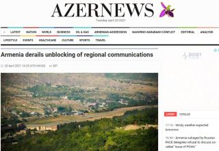 Armenia doesn't comply with clause of Nov.10 statement on restoration of economic and transport ties – Azernews