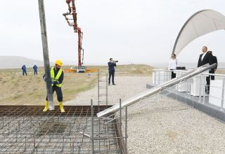 Azerbaijani president, first lady attend ceremony of laying foundation of Mud Volcanoes Tourism Complex (PHOTO)