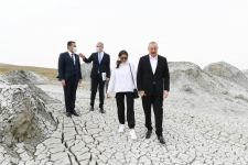 Azerbaijani president, first lady attend ceremony of laying foundation of Mud Volcanoes Tourism Complex (PHOTO) - Gallery Thumbnail