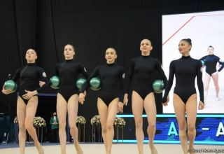 Azerbaijani team in group exercises reaches final of Rhythmic Gymnastics World Cup in Baku