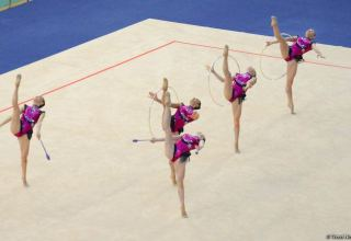 Azerbaijani team reaches finals in group exercises as part of Rhythmic Gymnastics World Cup (PHOTO)