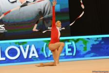 Results of Azerbaijani gymnasts' performance in exercises with clubs, ribbons as part of Rhythmic Gymnastics World Cup in Baku (PHOTO) - Gallery Thumbnail
