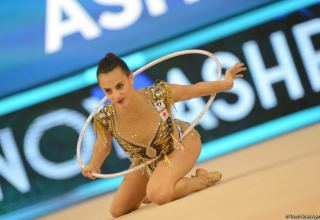 Israeli gymnast grabs gold in exercise with hoop at Rhythmic Gymnastics World Cup in Baku