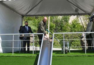 President Ilham Aliyev lays foundation stone for school No1 in Shusha