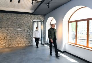 President Ilham Aliyev views work done at Shusha Art Gallery