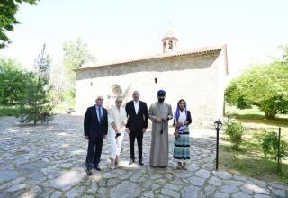 Azerbaijani president, first lady visit secondary school No 1 and Saint Elisæus Jotaari Church in Nij settlement, Gabala (PHOTO)