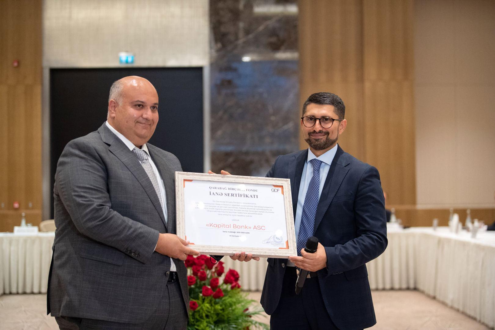 Kapital Bank Qarabağ Dirçəliş Fondunun xüsusi sertifikatına layiq görülüb (FOTO)