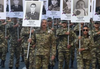 President, first lady take part in march to honor Azerbaijanis killed during second Karabakh war (PHOTO)