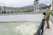 """President Ilham Aliyev launches """"Sugovushan-1"""" and """"Sugovushan-2"""" small hydropower plants after renovation (PHOTO) - Gallery Thumbnail"""