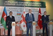 Defense ministers of Azerbaijan, Turkey, Georgia hold joint press conference (PHOTO) - Gallery Thumbnail
