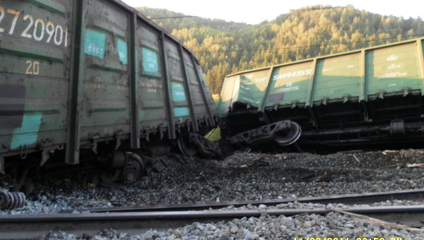 Photo: Fifteen freight cars derail in Azerbaijan