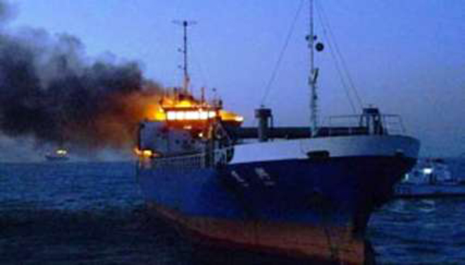 Photo: Tanker catches fire amid clashes in Libyan capital