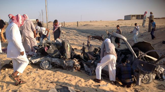 Photo: Egyptian media says 3 militants die in car explosion