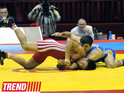 Photo: Azerbaijani wrestler wins gold medal in Youth Olympic Games