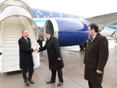 Photo: Azerbaijani president arrives in Switzerland for working visit