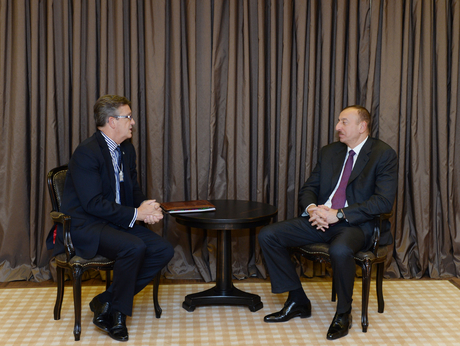 Photo: Azerbaijani President meets Chairman of Global Partnerships at Swiss Re AG / Politics