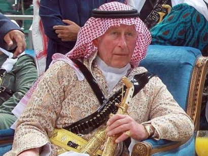 Photo: Prince Charles does the 'Ardha'.. Saudi style / Arab World