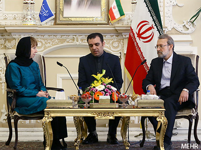 Photo: EU foreign policy chief meets Iran's parliament speaker in Tehran / Iran