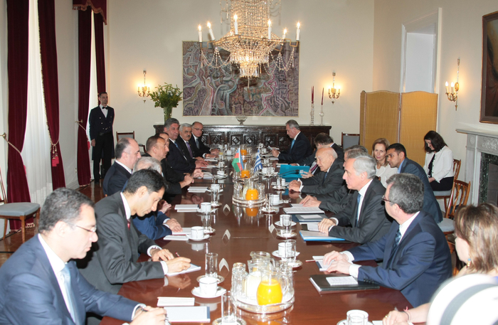 Photo: President Ilham Aliyev and President of Greece Karolos Papoulias held a meeting in an expanded format / Politics
